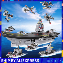 751PCS LiaoNing Aircraft Warship Group Building Blocks 8 in 1 Aircrafted Carrier Military Ship Bricks Toys For Children