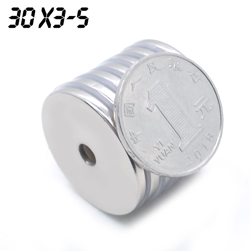 Wholesale 100pcs 30 x 3 mm hole: 5 mm super strong round neodymium countersunk Ring rare earth magnets 30 * 3 mm holes 5 mm