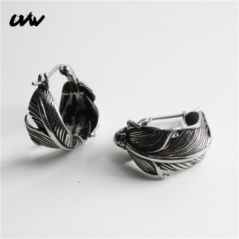 UVW384 2pc Punk Cool  Men Women Stainless Steel Vintage Leaves Hoop Earrings Stud Piercing Boho Jewelry Pendienties Brincos Gift