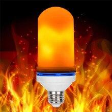 LED Bulb E27 Flame Effect Bulbs 85-265V LED Flame Effect Bulb Fire Light sensor Corn Decor lamp Dynamic Light 4 Modes Ampoule