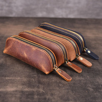 Handmade Genuine Leather Pencil Bag Vintage Retro Style Cowhide Zipper Pen Case School Bag Glasses Case Office Stationery Gift|Pencil Bags| |  -