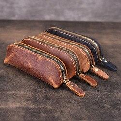 Kulit Asli Buatan Tangan Tas Pensil VINTAGE Retro Style Kulit Sapi Zipper Pena Case Sekolah Tas Kacamata Kasus Alat Tulis Kantor Hadiah