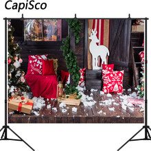 Capisco christmas background photography celebration rustic wooden houses holiday decoration photographic photo backdrop prop(China)