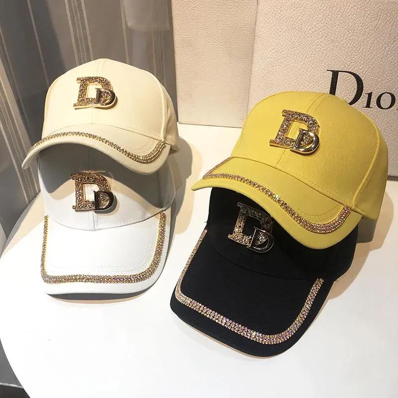 2021 New Letter D Baseball Cap Women rhinestone  trend cotton bling Cap  snapback  hip hop cap UV protection Hat Women's Cap