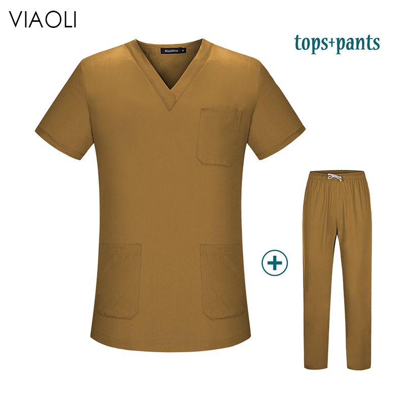 Viaoli New Unisex Medical Uniforms Nursing Scrubs Clothes Short Sleeved Tops Pants Doctor Shirt Brush Hand Clothing Work Clothes