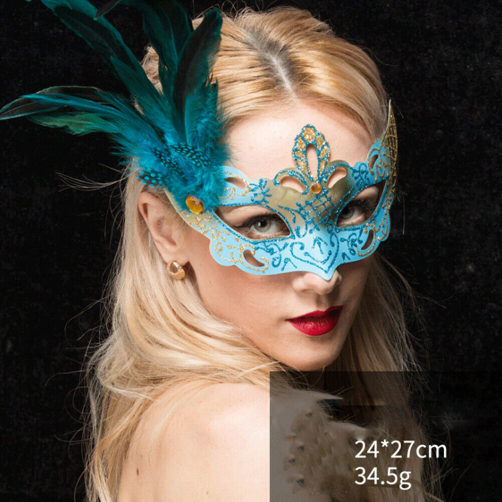 Halloween Cosplay Party Mask Masquerade Feather Mask Women Halloween Accessories Black Blue Pink Purple