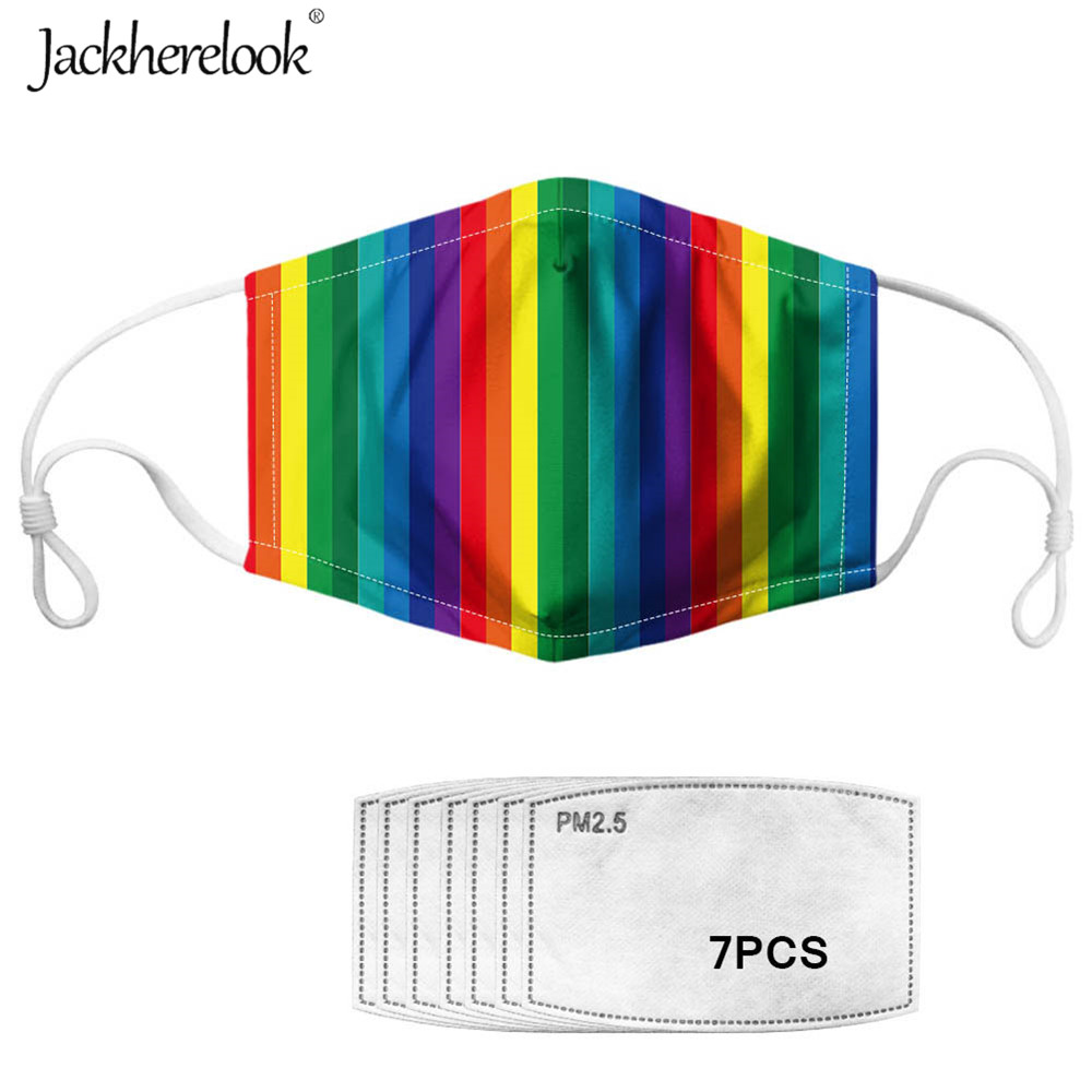Jackherelook Unisex Pride Mask Rainbow Flag Print 7PCS Filter Reusable Half Face Mouth Masks Women Men Anti-bacterial Dust Masks