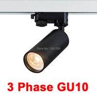 1 pçs led trilho pontos gu10 montagem teto track spotlight 1 fase 3 fase 2 4 fio branco preto faixa ligting dispositivo elétrico Iluminação do percurso     -