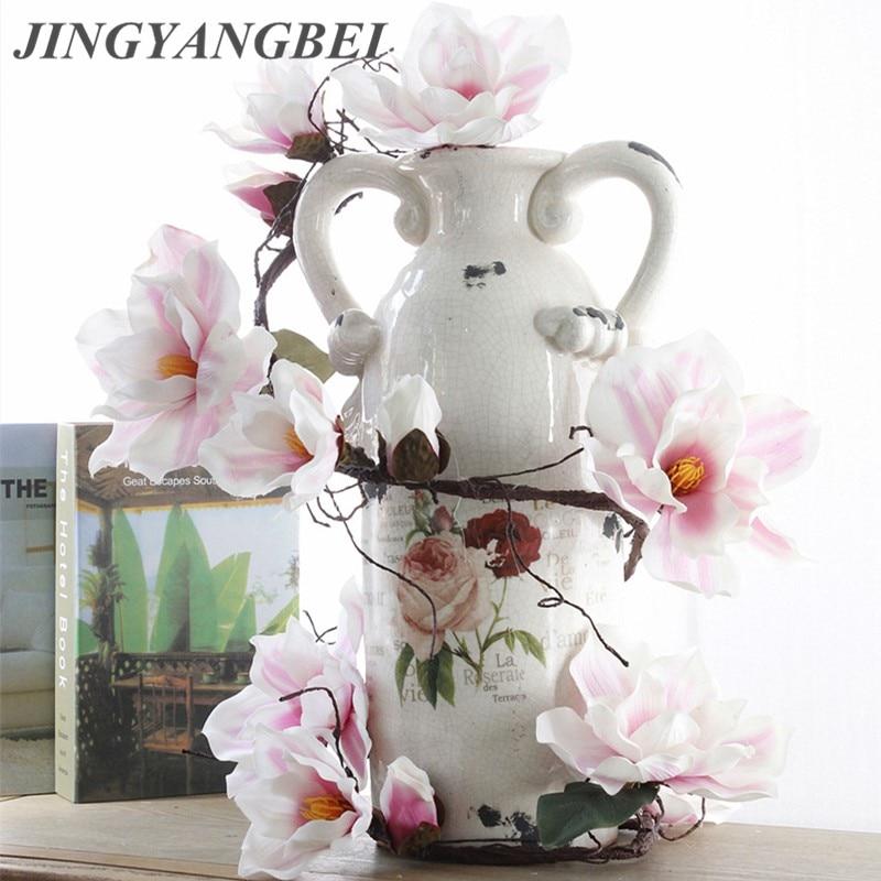185cm Magnolia Reben Silk Künstliche Blumen DIY Hängen Rattan Hause Decor Hochzeit Dekoration Gefälschte Blumen
