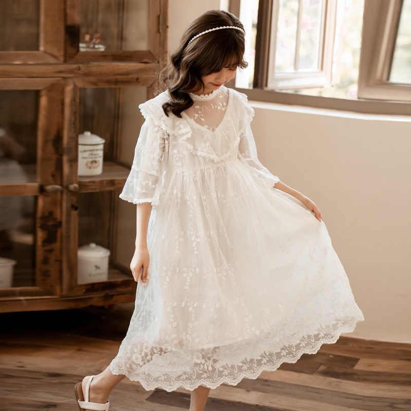 נסיכה סגול תחרה ארוך שמלת עבור גדול ילדה חדש 2020 קיץ תוספות בנות 4 6 8 10 12 14 שנים לבן מסיבת שמלת o בית ספר