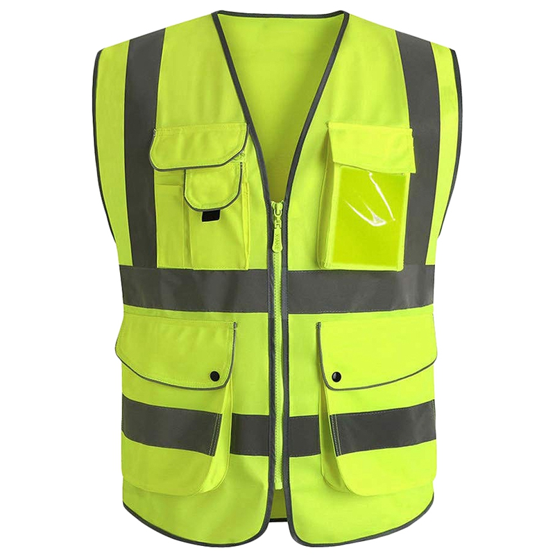 Class 2 Yellow Reflective Vest With 9 Pockets And Front Zipper High Visibility Safet Y Vests(M)