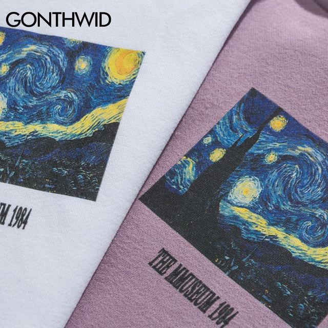 Gogh Starry Night Print Fleece Hoodies   4