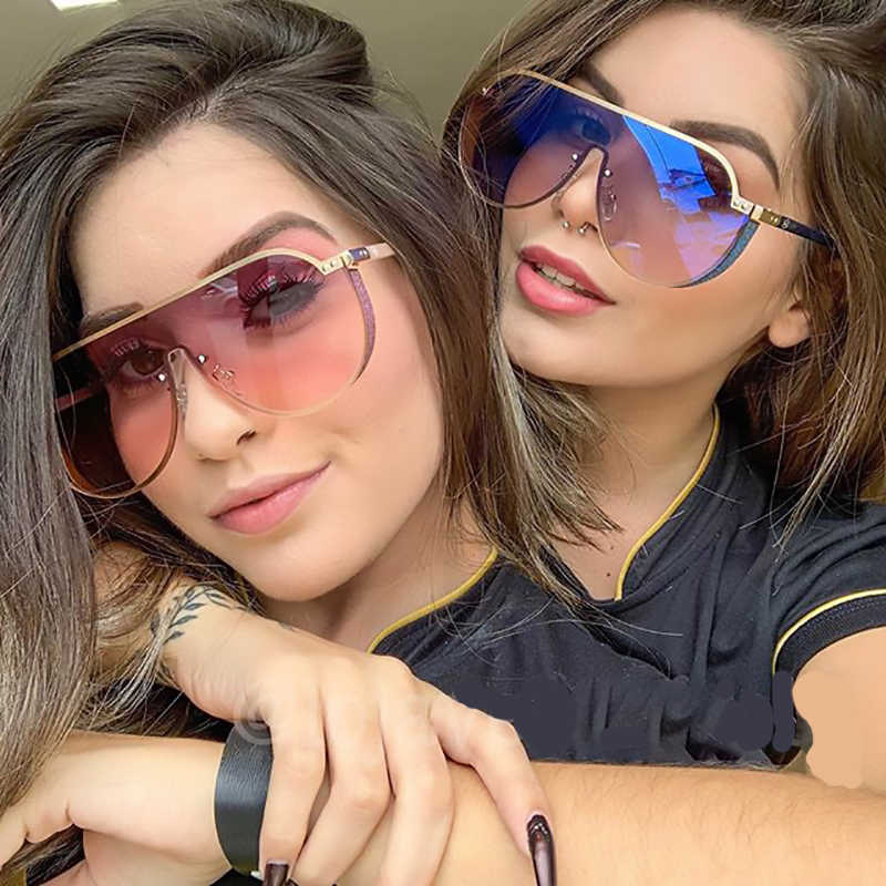 F431 2019 Fashion Pilot Sunglasses Women Brand Designer Oversized Gradient Blue Black One Piece Sun Glasses New Style Big Shades
