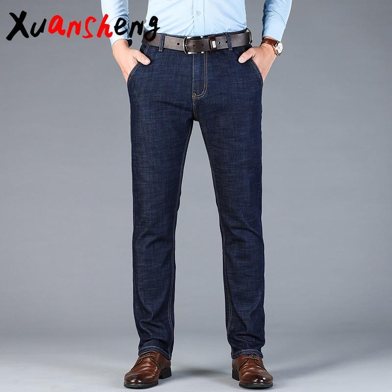 Xuan Sheng Modal Men's Jeans 2019 Stretch Cotton Soft Straight Brand Blue Black Street Costume Classic Fashion Long Pants Jeans