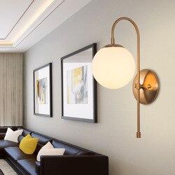 Wyposażenie domu kutego żelaza kinkiet postmodernistyczne oryginalność sypialnia nocna na korytarz do restauracji szklana kula kinkiet