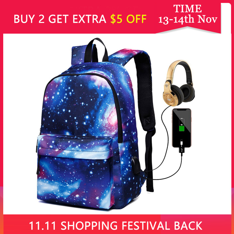 Women School Backpacks USB Charging Canvas Backpack School Bags For Teenagers Boy Girls Large Capacity Travel Backpack Men Bags