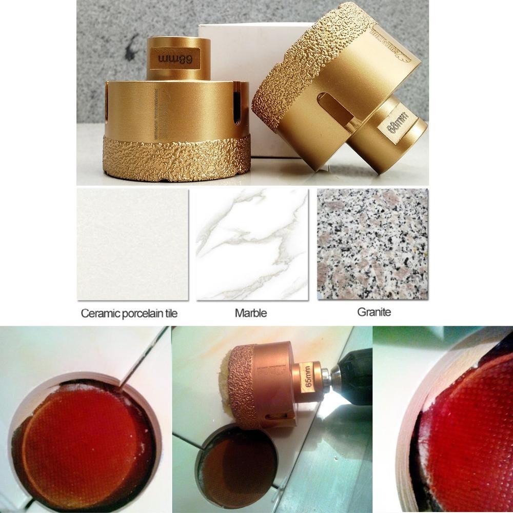 SHDIATOOL A Set Golden Dry Diamond Drill Core Bit Diameter Vacuum Brazed Drilling Porcelain Tile Granite Marble