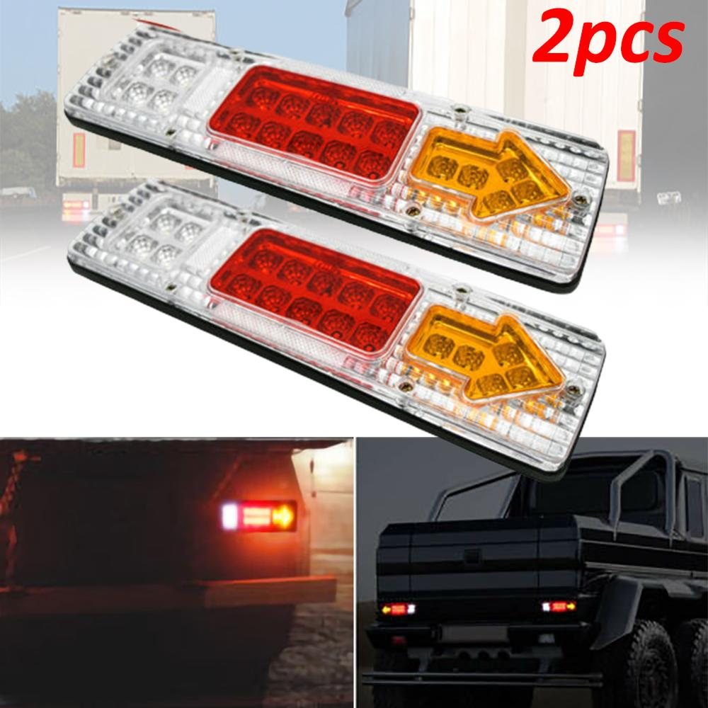 2PCS 12V 19-LED Car Trailer Truck Rear Tail Light Brake Reverse Lamp Waterproof Trailer Truck LED Rear Tail Light Taillight