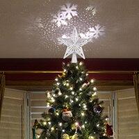 Prata ouro árvore de natal estrelas ajustável led snowstorm boneco de neve listras rgb luzes projeção decoração de natal Efeito de Iluminação de palco     -