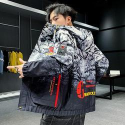 Primavera e verão nova alta montanha estrela jaqueta masculina rua blusão com capuz com zíper fino casaco masculino jaqueta casual