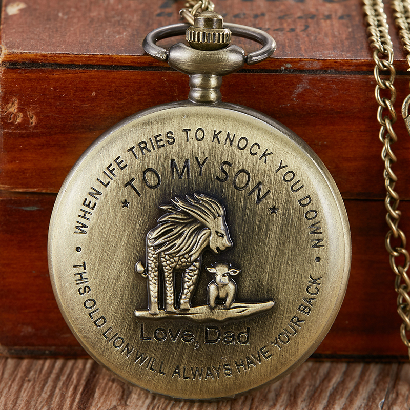 Retro To My Son Gifts Quartz Pocket Watch The Lion King Bronze Watches Present From Dad Luxury Steampunk FOB Chain Pendant Clock