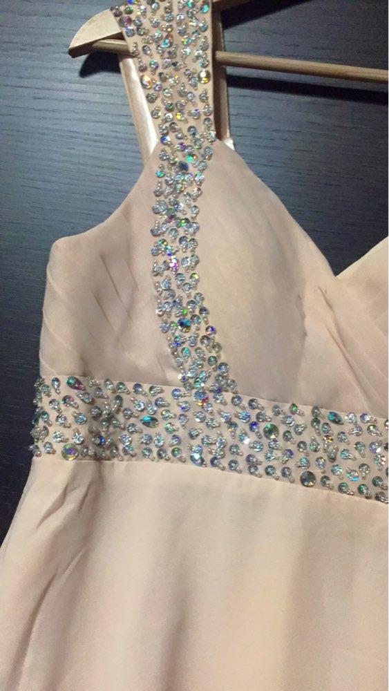 A-ligne en mousseline de soie chérie perles Crytals élégant hors épaule robes de demoiselle d'honneur pas cher robes de fête de mariage robe de soirée - 5
