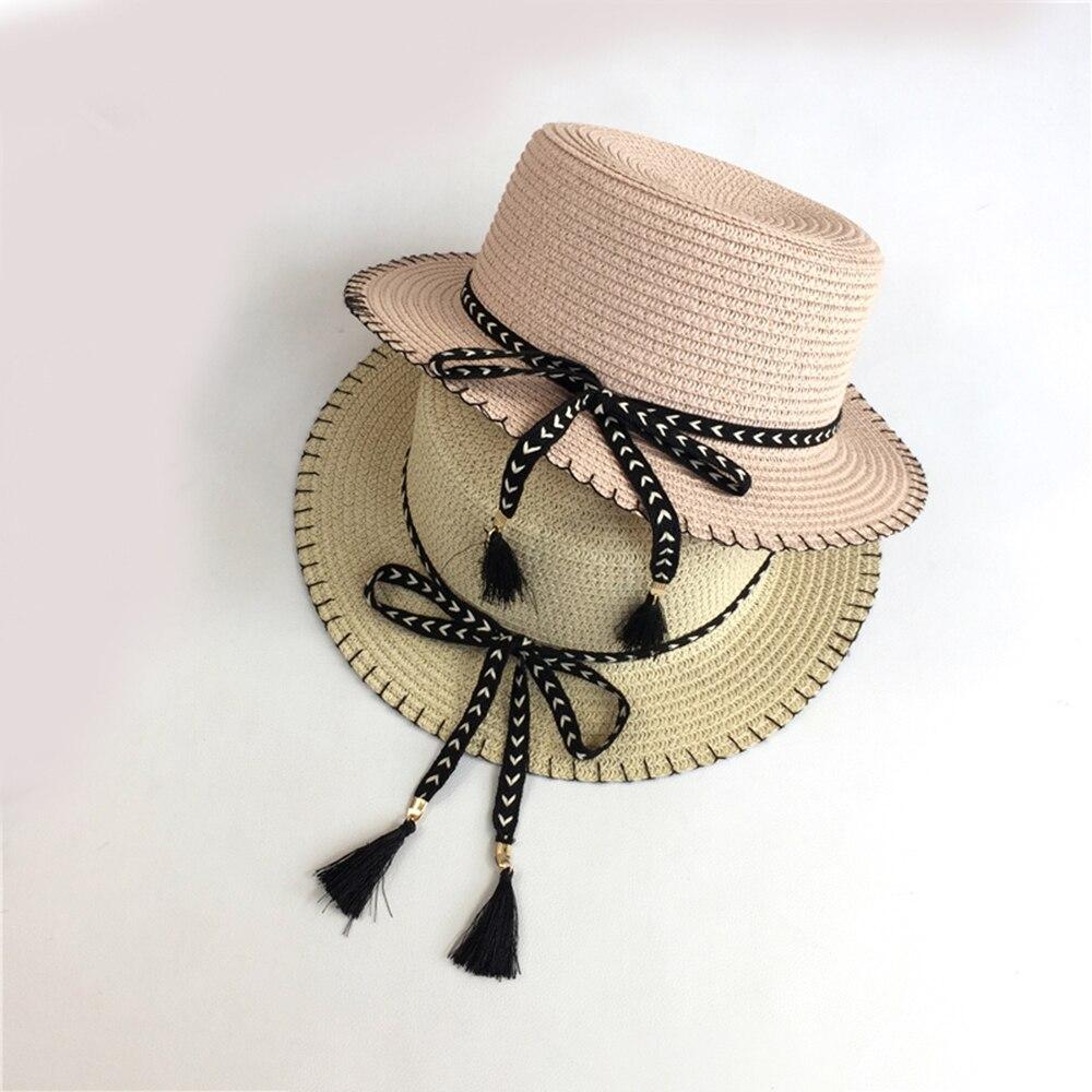 2019 New Fashion Summer Hat bow For Women Ladies Wide Brim Beach Sun Hat Belt Straw Floppy Bohemia Cap For Women Hat Cap in Women 39 s Sun Hats from Apparel Accessories