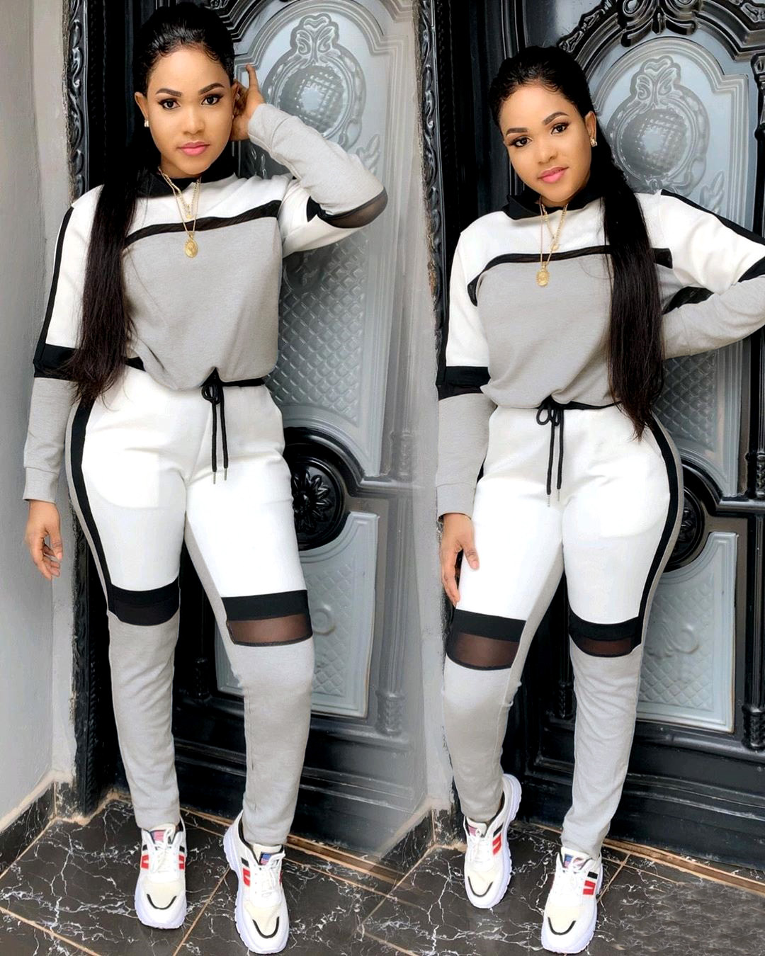 2019 outono inverno mulheres long-sleeved camisola top calças corredores terno duas peças set moda sportswear treino outfit