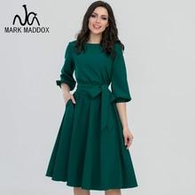 цена на 2019 Summer Vintage Soild Lantern Sleeve A-Line Dress Women Elegant O-Neck Half Sleeve Pocket Sashes Knee-length Casual Dress