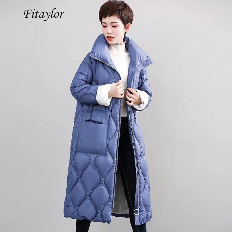 Fitaylor New 2020 Winter Women Ultra Light Down Coat Medium Long Warm Parkas Stand Collar Long Sleeve Zipper Loose Outerwear
