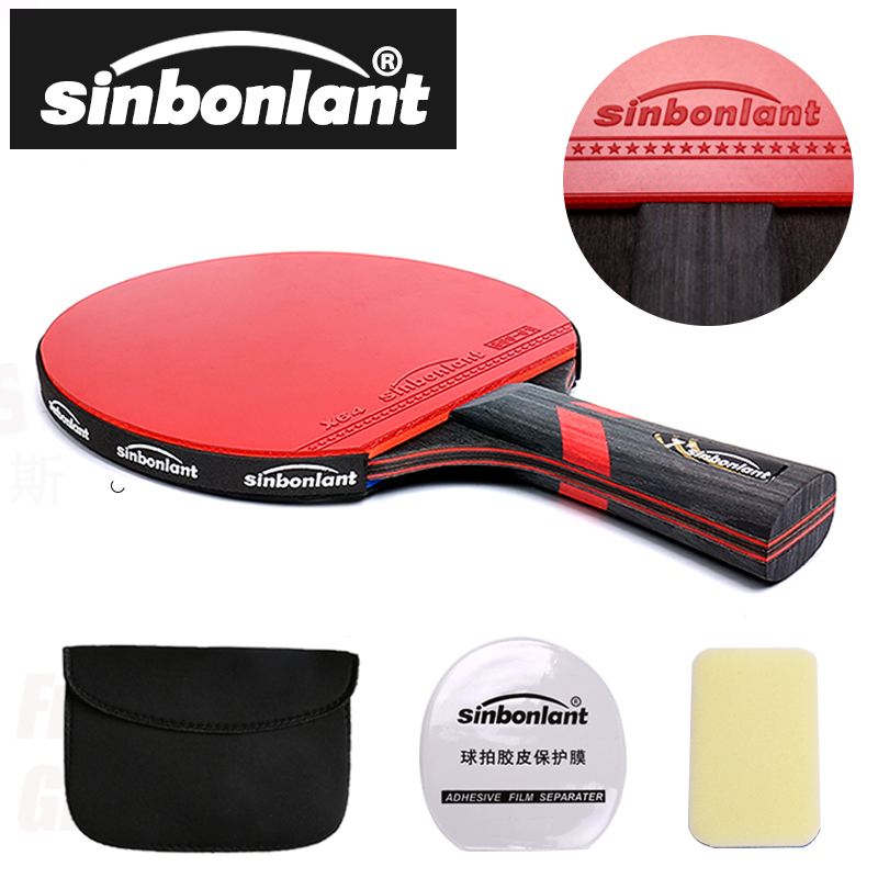 Professional Tennis Table Racket Short Long Handle Carbon Blade Rubber With Double Face Pimples In Ping Pong Rackets With Case
