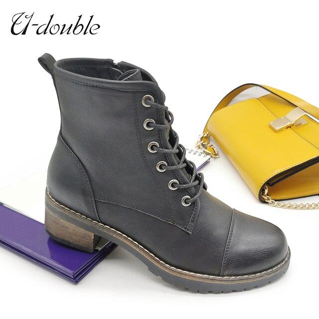 Фото женские зимние ботинки u double 2020 модные ботильоны женская