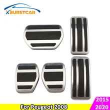 Xburstcar Car Pedals for Peugeot 2008 2015 - 2020 Stainless Steel Car Interior Fuel Gas Pedal Brake Pedals Cover Accessories