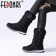 FEDONAS Botas de nieve cálidas y cómodas para mujer, zapatos básicos informales de oficina, para invierno