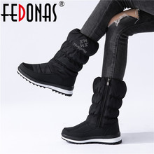 FEDONAS Warm Comfortable Female Flats Platform Snow Boots Winter New Zipper Women Mid Calf Boots Casual Office Basic Shoes Woman