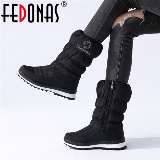 FEDONAS الدافئة مريحة الإناث الشقق منصة الثلوج الأحذية الشتاء جديد سستة النساء منتصف العجل الأحذية مكتب عادي الأساسية أحذية امرأة