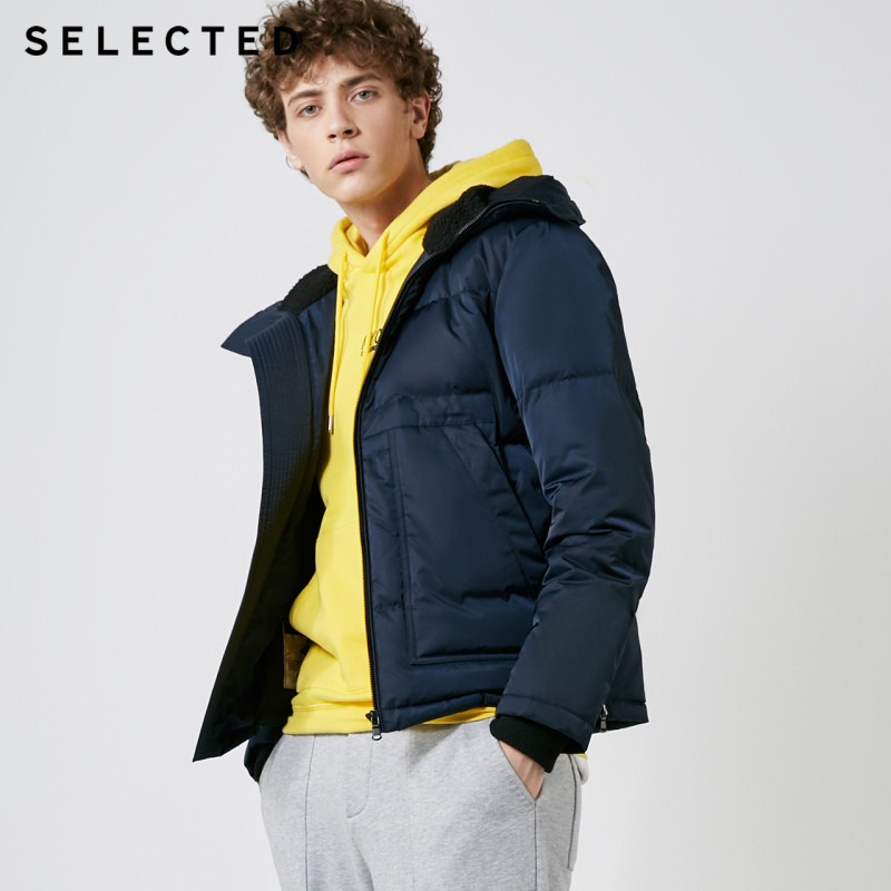 SELECTED New Winter Down Jacket Men's Suede Neck Parka Casual Short Down Coat Clothes S | 418412582