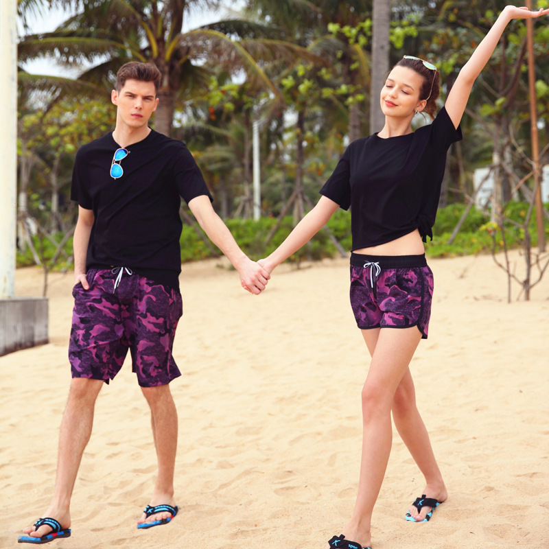 Beach Shorts Men Loose And Plus-sized Quick-Dry Flower Shorts Spa Resort Shang Hai Feng Couples Shorts