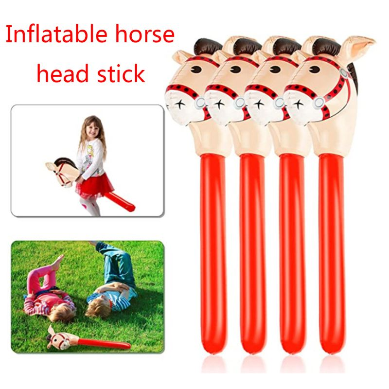 Inflatable Horse Heads Cowgirl Stick PVC Balloon Outdoor Educational Toys For Children Babies Birthday Gifts