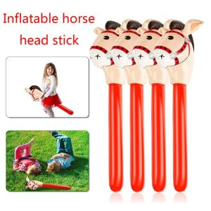 Inflatable Horse Heads Cowgirl Stick PVC Balloon Outdoor Educational Toys for Children Babies Birthday Gifts(China)