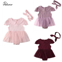 2020 Baby Girl Summer Lace Ruffle Romper Jumpsuit Dress Headband 0-24M Newborn Infant Girls Casual Clothes Outfits Set pudcoco cute newborn kids baby girl infant lace romper dress jumpsuit playsuit clothes outfits
