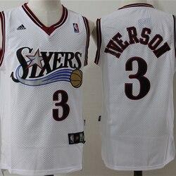NBA Men's Philadelphia 76ers #3 Allen Iverson Basketball Jerseys Retro Mesh Swingman Jersey Embroidery Sewing Men Sports Jersey