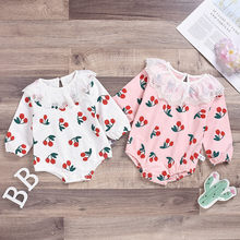 Baby Bodysuit Girl Ruffle Lace Cherry Print Baby Jumpsuit Newborn Costume Casual Outfits Onesie Toddler Kids Winter Clothes 19Ot(China)