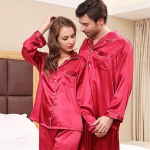 Image 2 - Pyjama en soie à manches longues pour hommes, ensemble vêtement de luxe mince, soie glacée, pour la maison