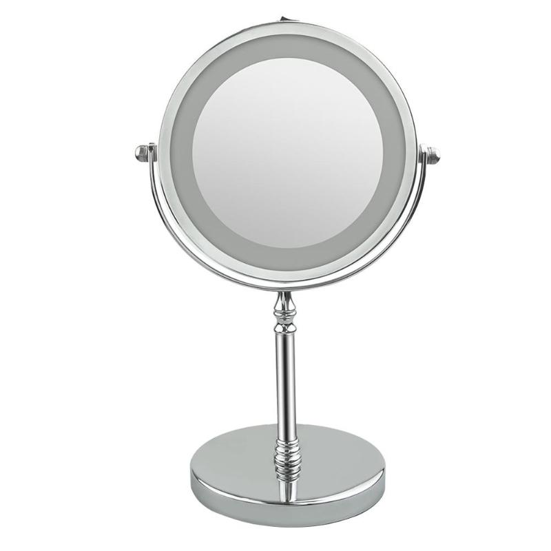 7 Inch 10x Magnification Dual Sided LED 360 Degree Rotating Makeup Mirror