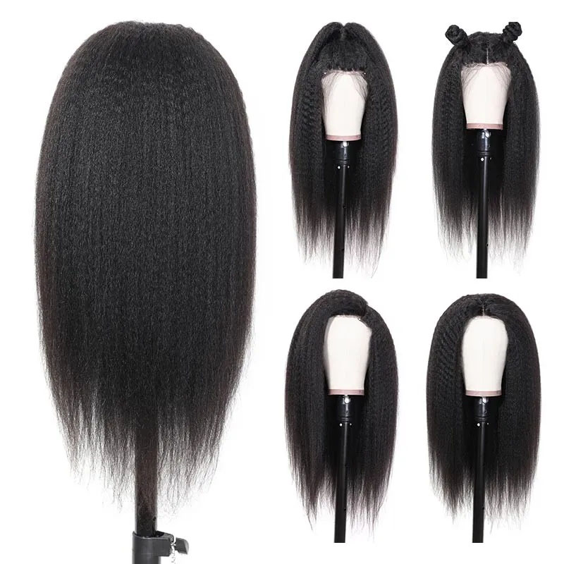 Kinky Straight 13x4 Lace Front Wigs For Women 360 Lace Frontal Wig Pre Plucked With Baby Hair Long Remy Yaki Human Hair Wigs