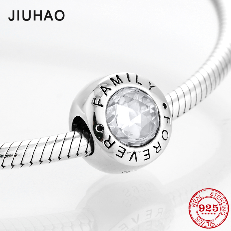 Fashion trend 925 Sterling Silver clear CZ Forever family fine beads Fit Original Pandora Charm Bracelet Jewelry making(China)
