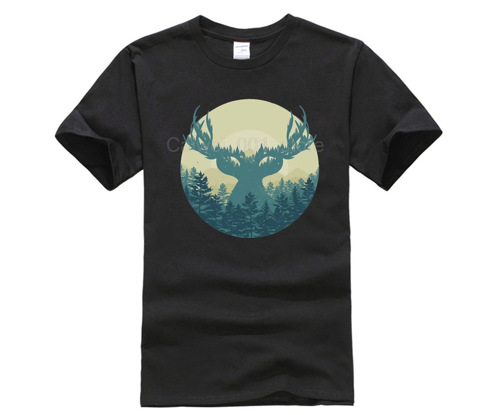 Модная мужская футболка с коротким рукавом, летняя мужская футболка с принтом лося, леса, Swag, фэнтези, туман, лес, круглый вырез, крутая Мужск...