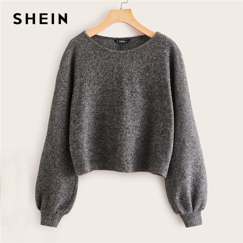 SHEIN Grey Boat Neck Ribbed knit Casual Top Women Autumn High Street Bishop Sleeve Office Ladies Basic T-shirts 1