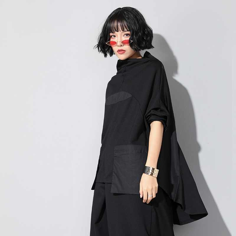 Nero Più Il Formato Irregolare Autunno Inverno Allentato Casuale Tee T Delle Donne Della Camicia T-Shirt Donna Tshirt Vestiti 2020 Parti Superiori Streetwear